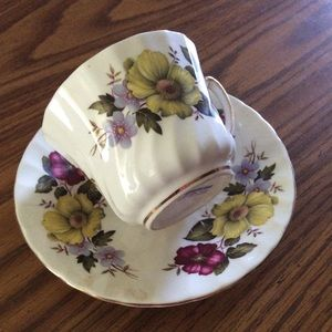 Vintage tea cup and saucer yellow floral design +
